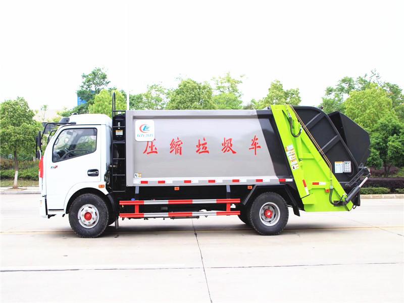 东风多利卡8方压缩式垃圾车,压缩式垃圾清运车厂家现货供应,压缩式垃圾车最新报价示例图7