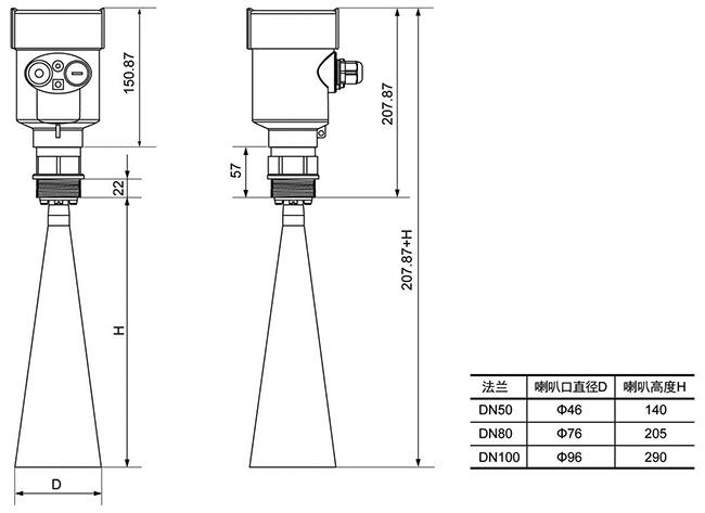 HKRD906型号 26G高频雷达物位计,适用于卫生型液体存储容器、强腐蚀性容器示例图4