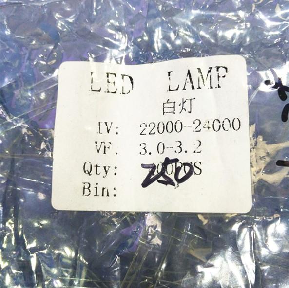 样品免费直插Ф10发光管/LED 白发白 白色 高亮示例图2