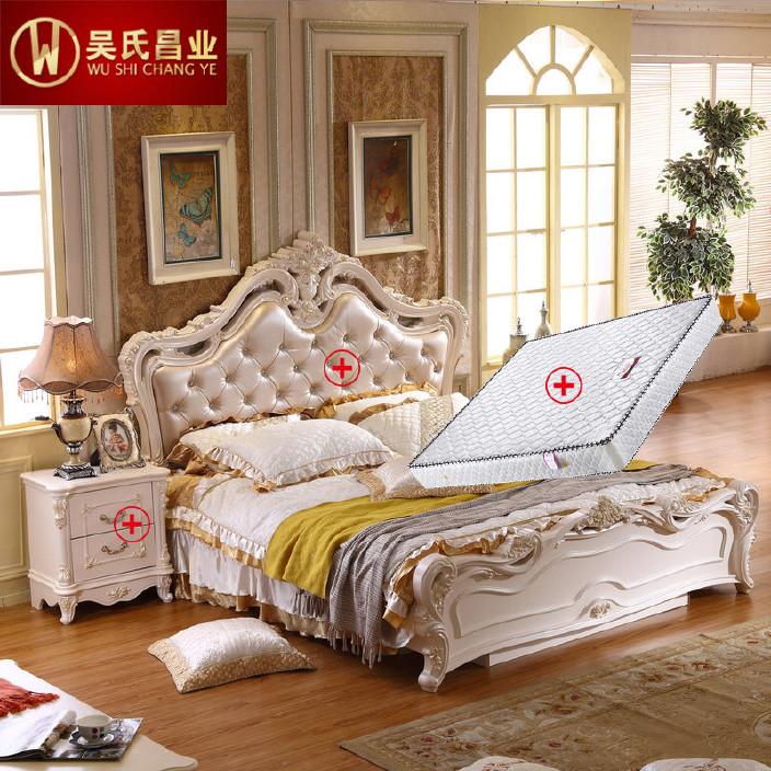 吴氏昌业欧式床卧室成套家具三件套 实木法式床