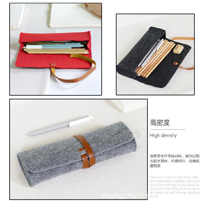 厂家直销毛毡笔袋时尚学生 大容量简约铅笔袋文具学生用品示例图13