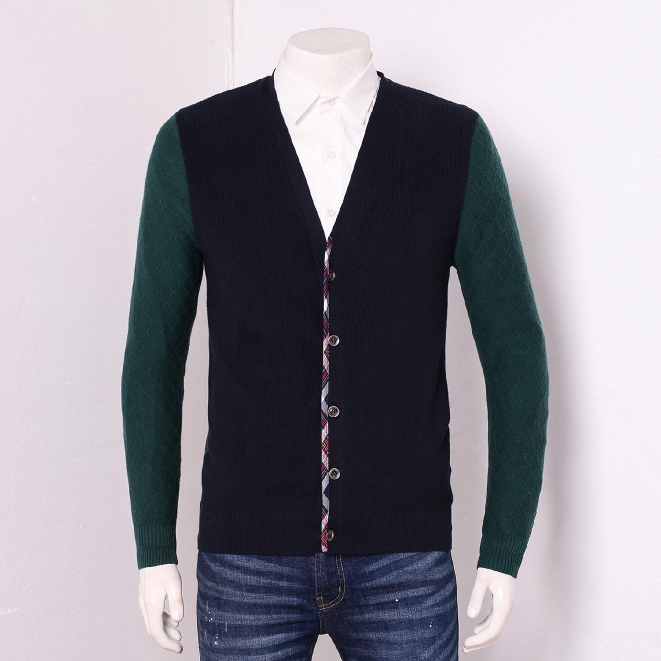 罗米欧男装品牌尾货剪标尾货毛衣开衫纯棉撞色拼接针织线衫Z3D403
