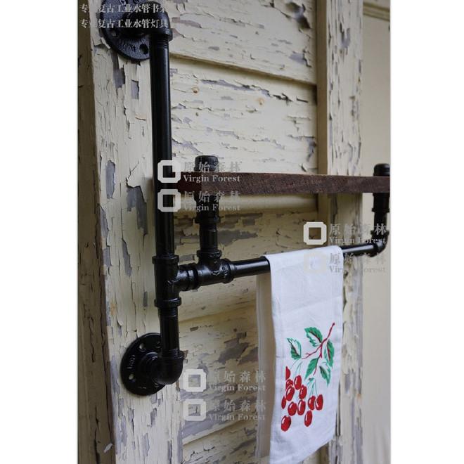 美式支架搁架实木壁挂架复古做旧水管书架墙壁置物架铁艺隔板现货
