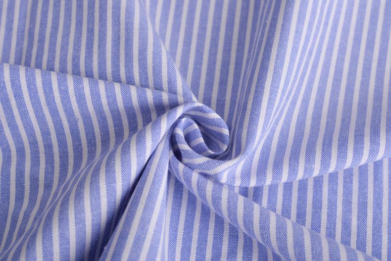 廠家直銷加厚牛津紡條子色織襯衫滌棉布料條紋布連衣裙職業裝面料示例圖8