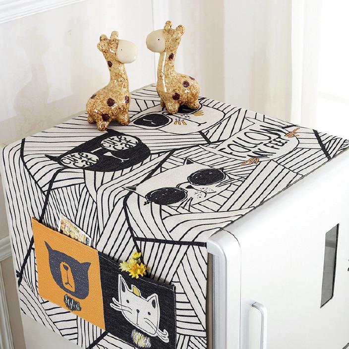 棉麻卡通布艺冰箱布 滚筒洗衣机罩 单开门冰箱防尘布 厂家批发