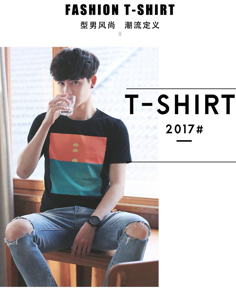 2017新〓款夏季男士短袖t恤男式�棉日系男�b�A�K�I�n版休�e�S¤家直�N示例�D14