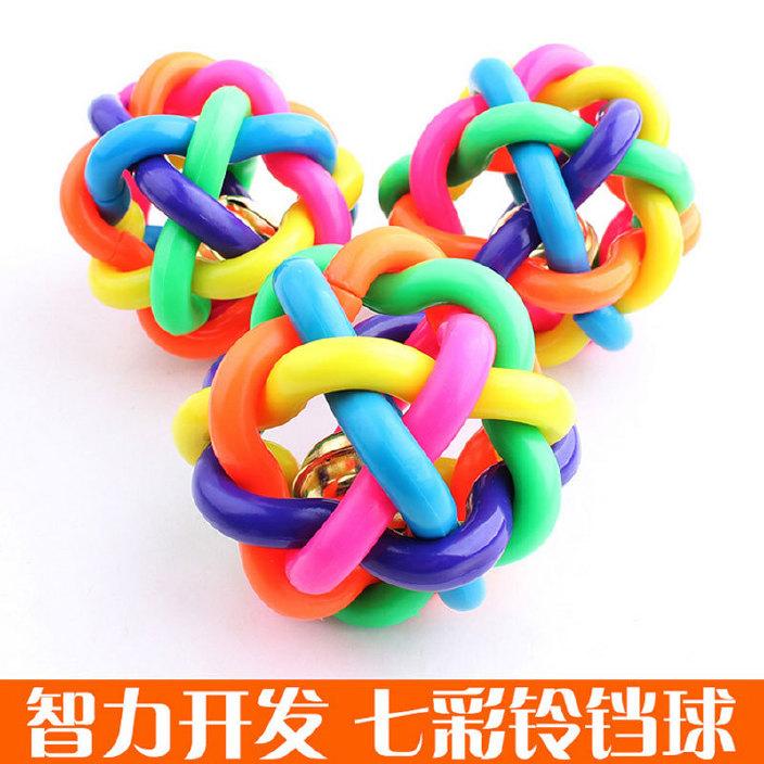 真正的厂家直销 6CM宠物七彩铃铛球 宠物玩具发声球 宠物用品图片
