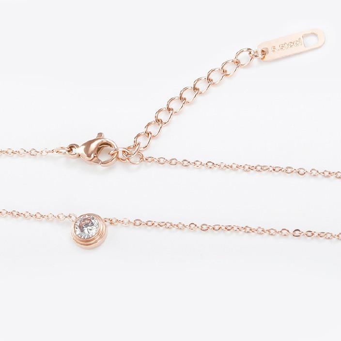 我的前半生唐晶同款项链女钛钢镀玫瑰金单钻锁