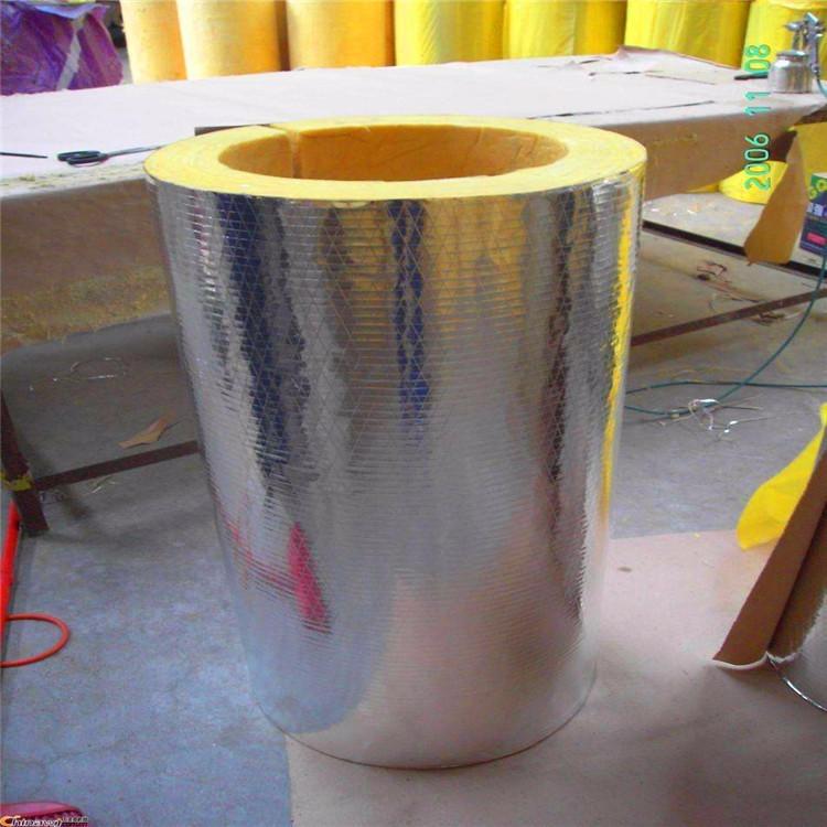 100厚各种规格岩棉管 120厚复合铝箔玻璃棉管 大城厂家批发防火抗潮保温管
