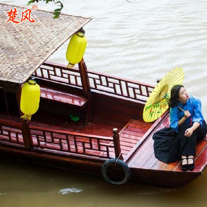 廠家供應熱銷木質仿古婚紗攝影裝飾道具主題酒店搖櫓木船烏篷船示例圖8