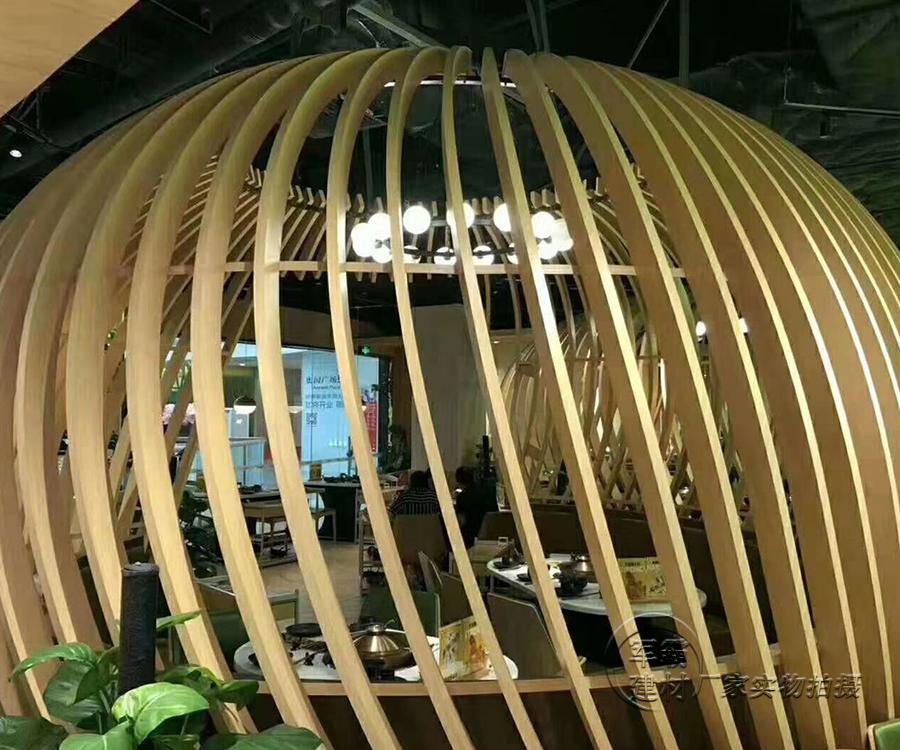弧形木紋鋁方通廠家-弧形木紋鋁方通吊頂示例圖14
