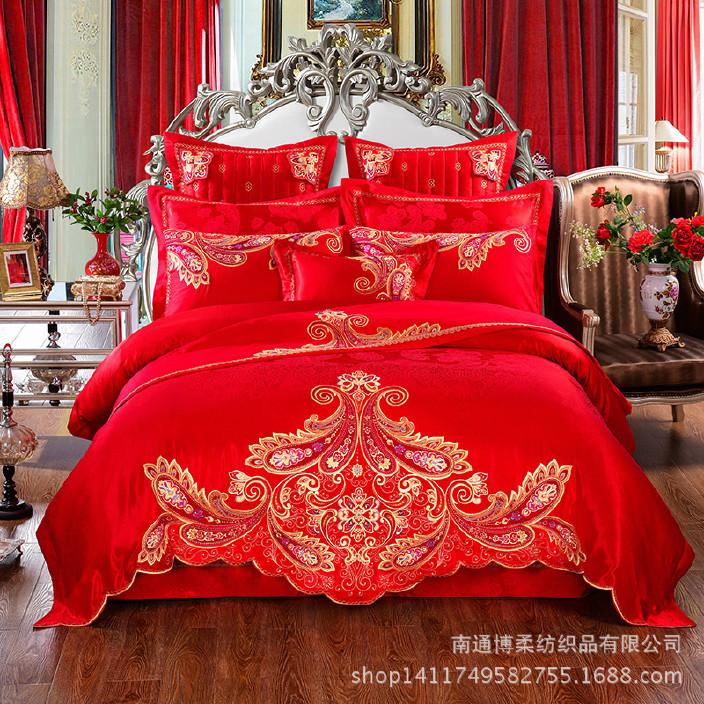 南通家紡婚慶十件套全棉貢緞提花套件大紅多件套床上用品一件代發圖片