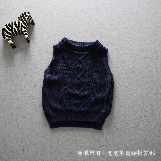 2017秋季新款儿童毛线背心婴幼儿编织马甲男