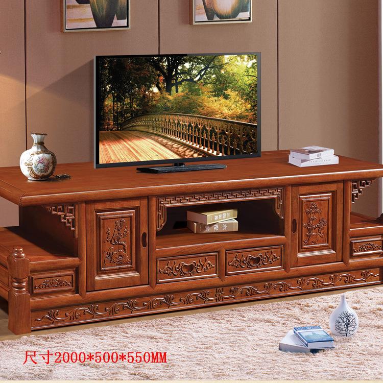 香樟木電視柜全實木仿古雕花2米中式復古視聽柜特價廠家直銷