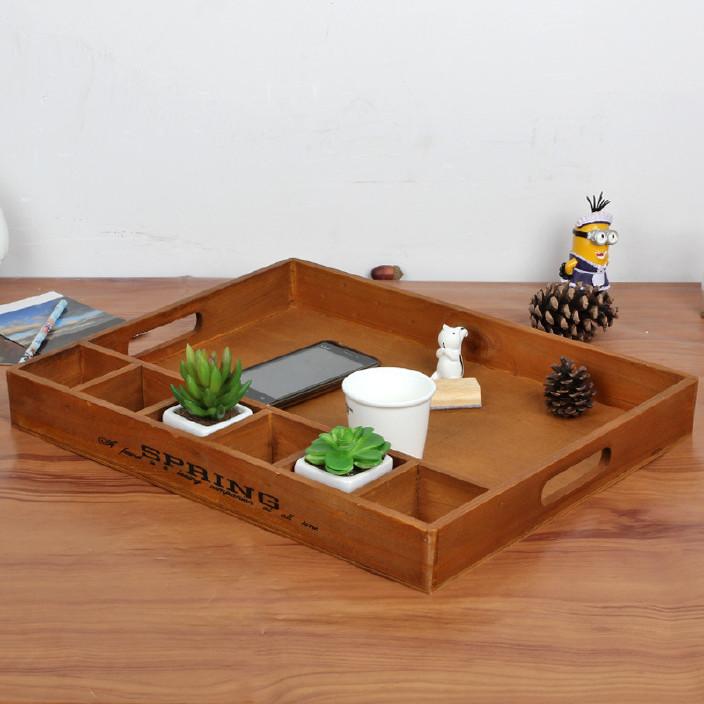 木制多功能收纳 分隔木托盘果盘桌面整理厂家直销