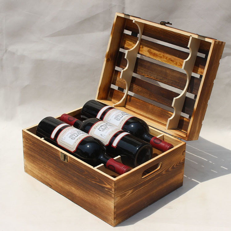 六支装翻盖打条 松木红酒木盒 高档葡萄酒收藏木箱
