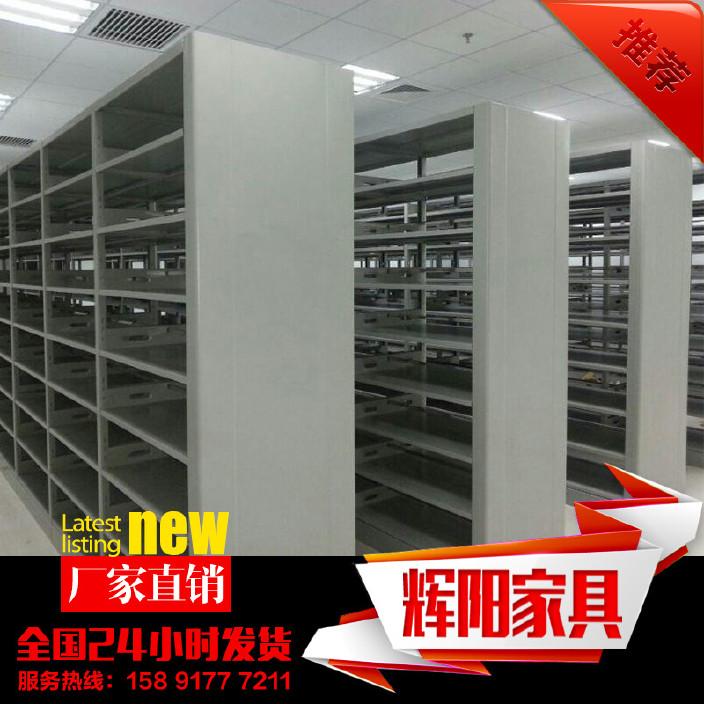 西安图书馆书架 钢制双柱双面书架 档案密集架 双层床 底图柜
