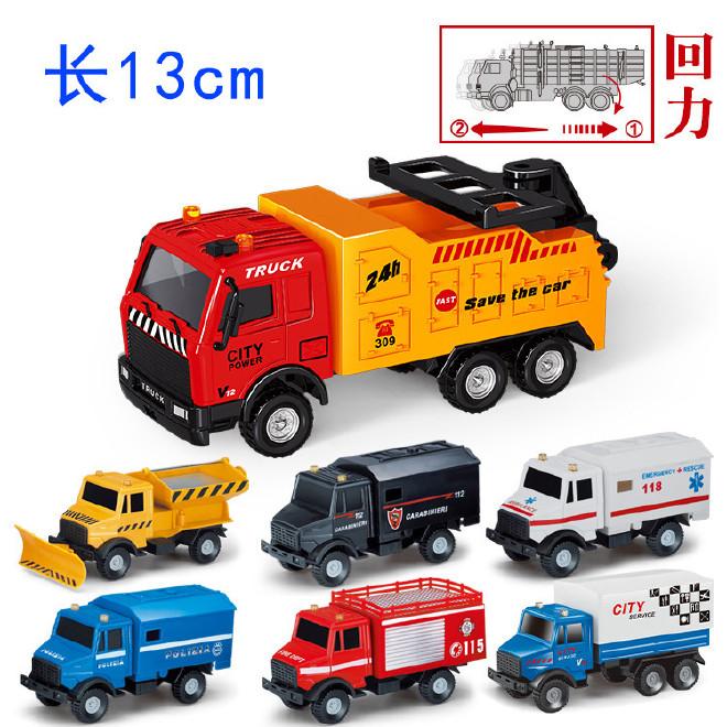 禾时儿童玩具回力合金车厢货车救护车运输车模型玩具彩盒热卖批发图片