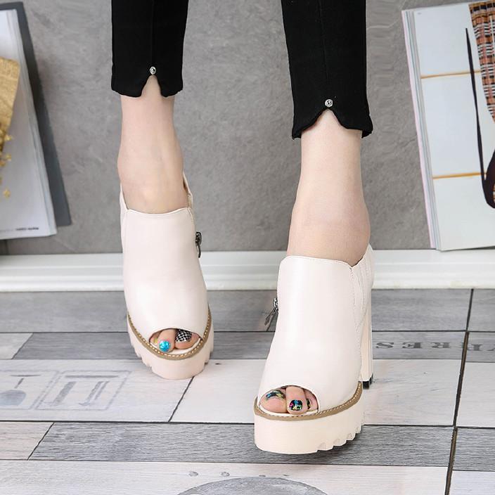 2017春秋新款欧美高跟鱼嘴鞋粗跟厚底鞋时尚转向螺杆图片