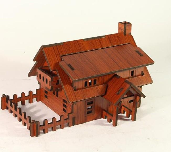 森呼吸西式小屋批发激光切割3D精品智慧拼装模型精致DIY益智玩具示例图6