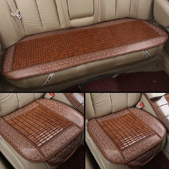 夏季清凉竹片汽车坐垫三件套 亚麻无靠背座套批发定制通用坐垫