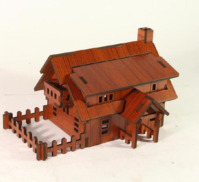森呼吸西式小屋批发激光切割3D精品智慧拼装模型精致DIY益智玩具示例图2