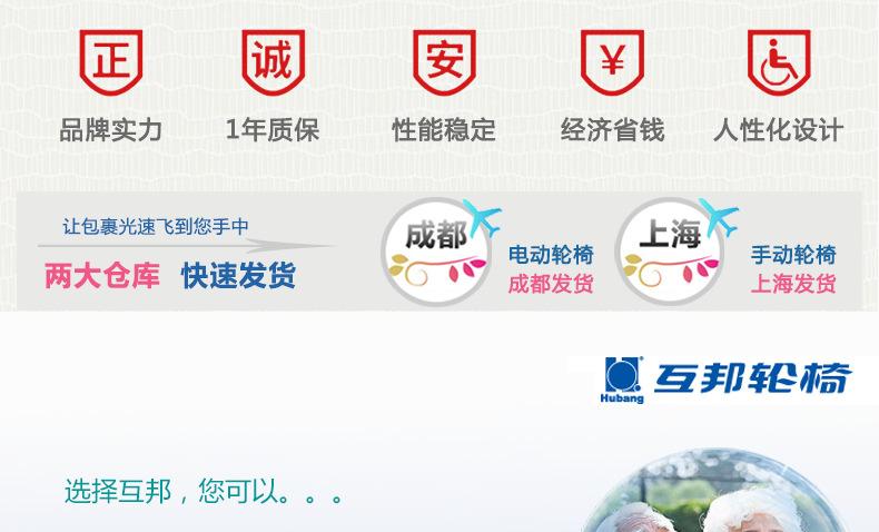 包邮上海互邦电动轮椅HBLD4-E轻便可折叠老年残疾人代步车家用示例图17