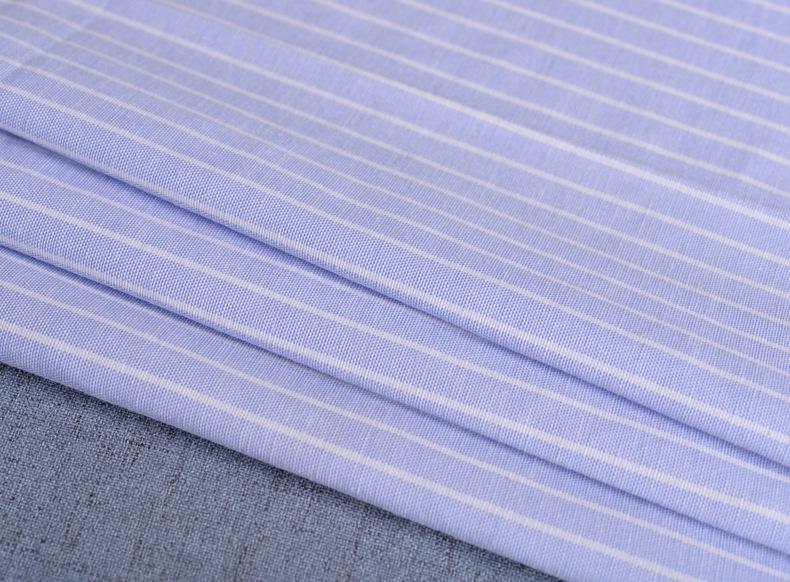 廠家直銷加厚牛津紡條子色織襯衫滌棉布料條紋布連衣裙職業裝面料示例圖12