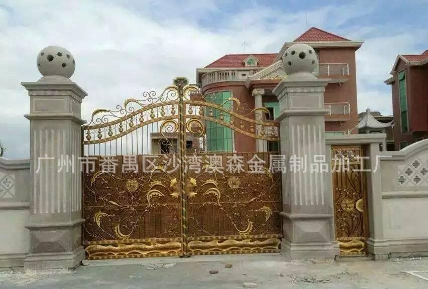 金色铁艺大门,花园别墅欧式铁门