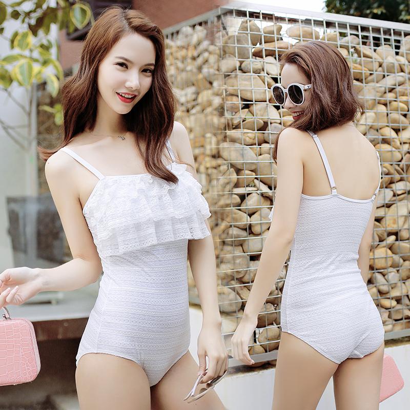 泳衣女 遮肚保守連體三角小胸聚攏顯瘦鋼托性感露背韓國溫泉泳裝