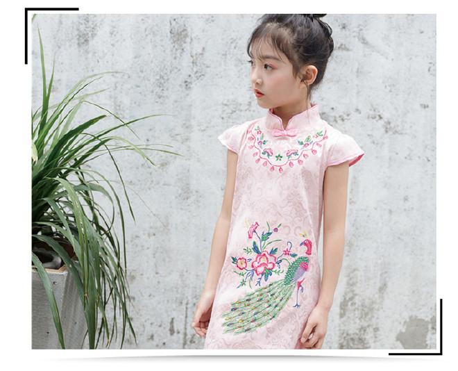 新款儿童绣花旗袍夏季复古公主女童舞蹈表演幼儿古筝演出一件代发