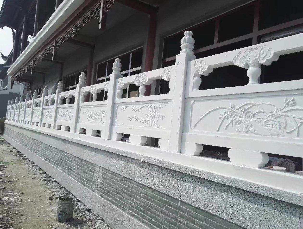 汉白玉石栏杆  草白玉石栏杆 河道防护栏 桥梁栏杆  园林雕塑
