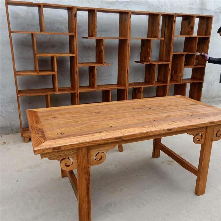 可定制 实木办公桌面 汇美 风化老榆木木板风化板 落房梁实木板 厂家直销图片