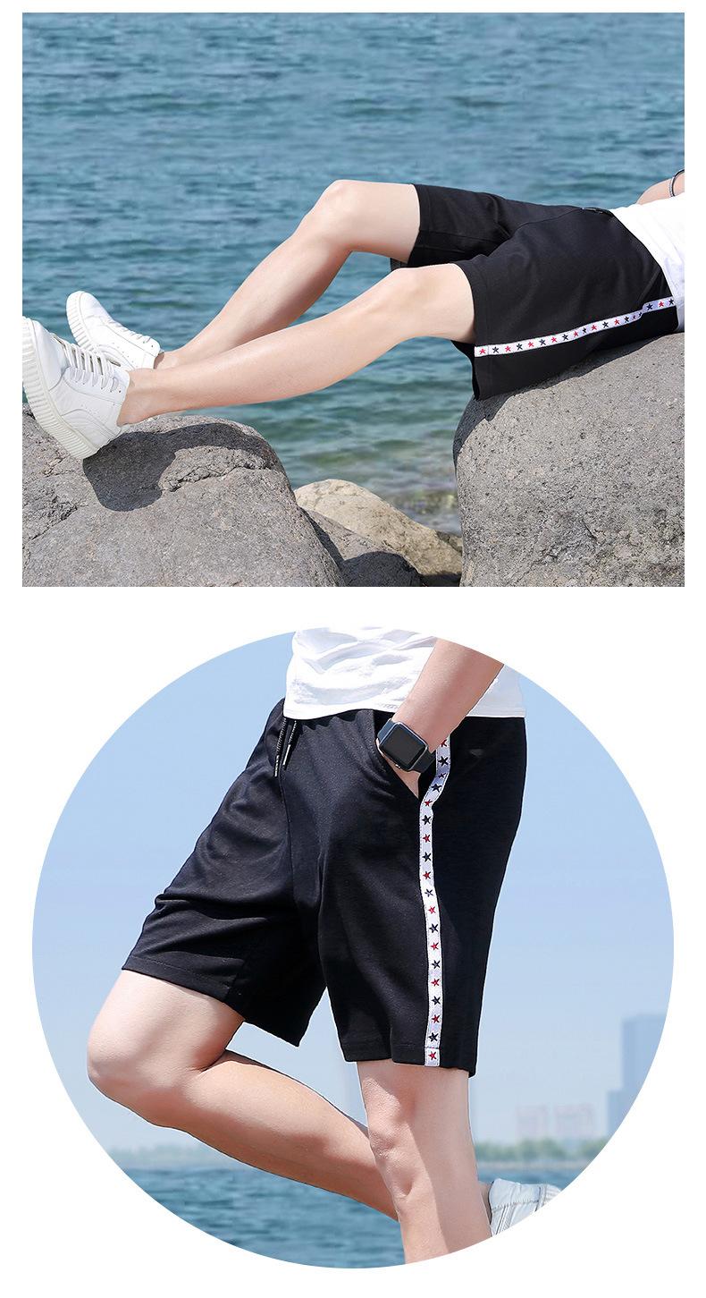 夏季男士短裤 中国风运动速干弹力沙滩裤 透气修身五分裤示例图8