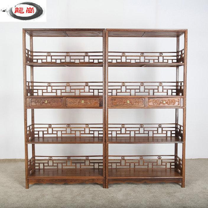 明清古典红木家具鸡翅木四层大书架 精品中式简易实木雕花书柜