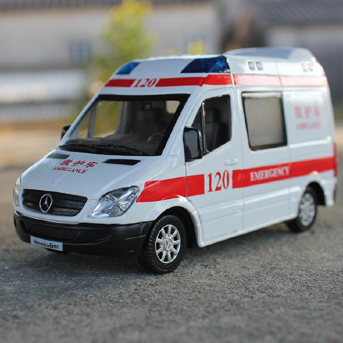 合金车模 奔驰凌特救护车警车 声光回力汽车模型玩具散装图片