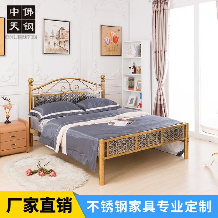 美式鄉村不銹鋼床雙人床1.8米單人床1.2/1.5米