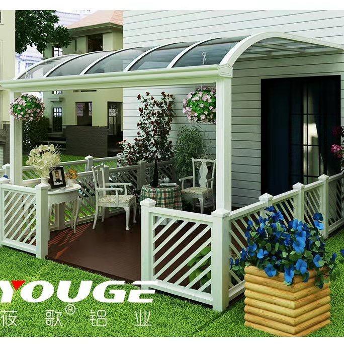 鋁合金雨棚 遮陽蓬 別墅露臺棚 透明耐力板雨棚