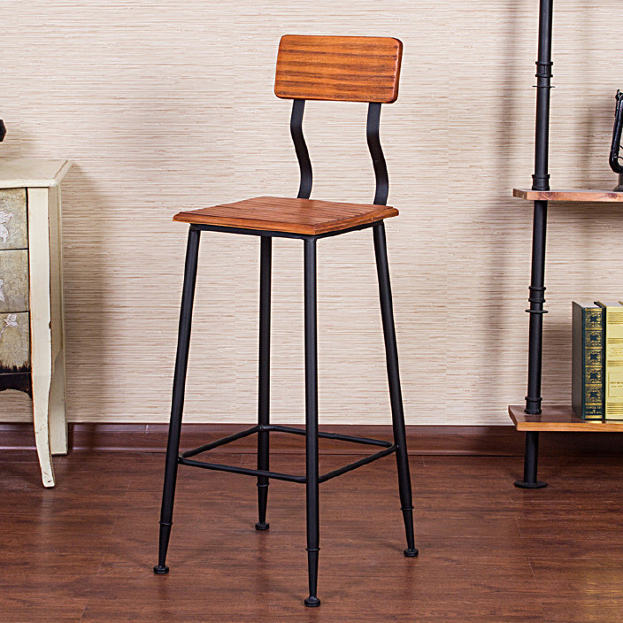 美式铁艺餐桌椅组合实木做旧酒吧桌吧台桌椅 仙源复古快餐桌椅