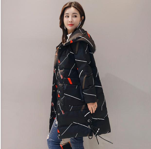 2017冬季女装新款时尚印花连帽H型口袋抽绳修身显瘦休闲棉衣棉服图片