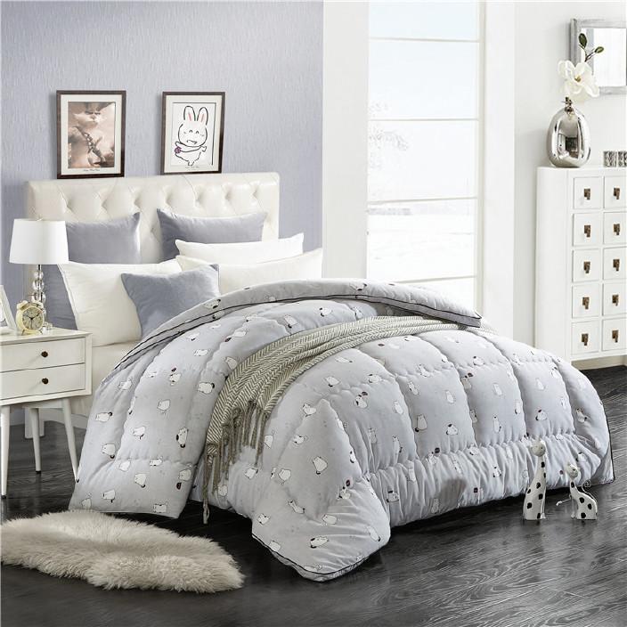 2017新款全棉棉被 磨毛压花印花被子被芯棉被芯床上用品一件代发图片