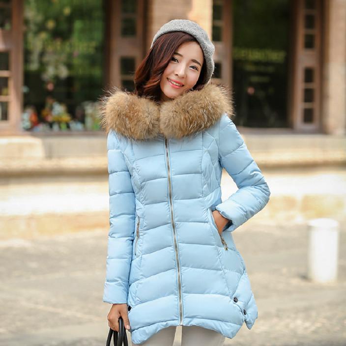 韩版中长款羽绒棉服女加厚修身显瘦毛领棉服冬季大码棉衣女外套图片