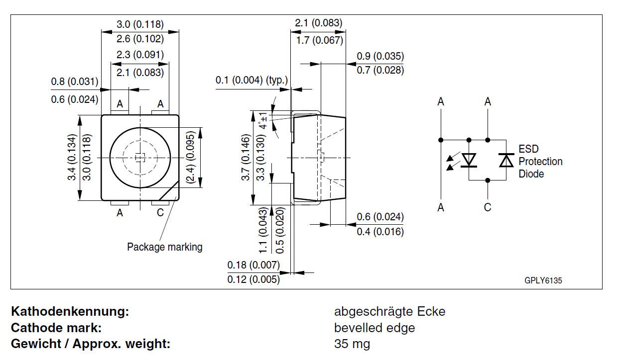 原装欧司朗LED LCWE6SG-V2BA-4J8K,3528暖白,4500K 四脚共阴示例图1