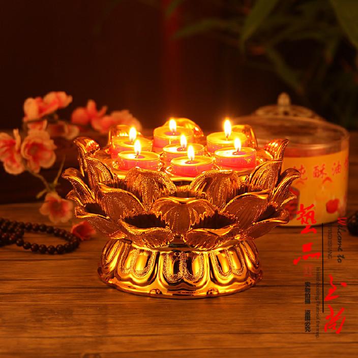 精美陶瓷镀金砂 七星莲花酥油灯座 佛教供灯 酥油烛台灯座图片