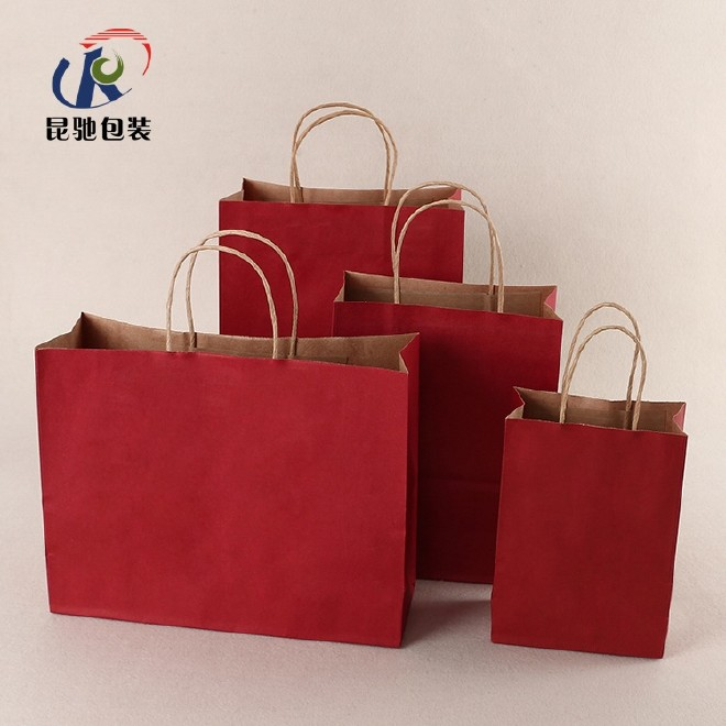 牛皮纸袋定做服装店购物袋手提袋环保礼品袋红色纸袋子批发印logo图片