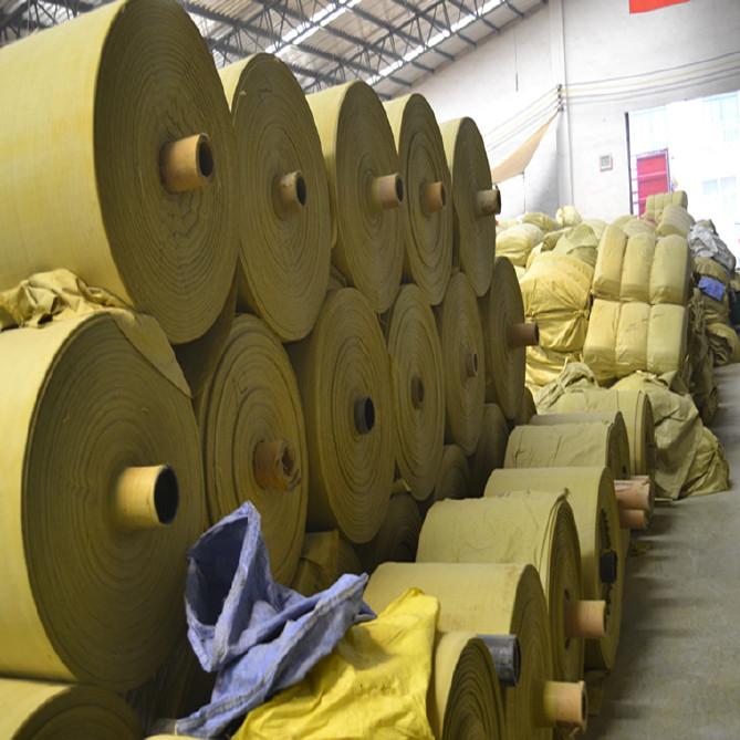 PP编织袋筒料生产厂家直销黄色半成品布卷 开边编织布可加工定做