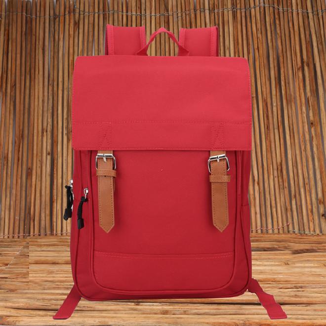 2016新款时尚韩版学院风带盖双肩学生书包 纯色休闲旅游包批发示例图40