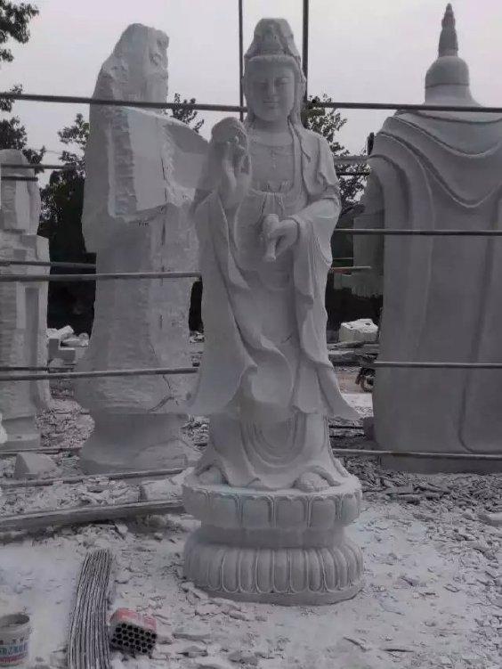 厂家直销寺庙佛像雕塑 汉白玉滴水观音石雕像 观音菩萨雕塑