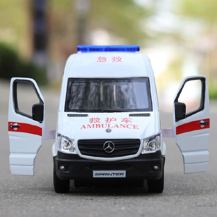 (盒装)奔驰救护车120车110合金模型仿真车模回力小汽车开门图片