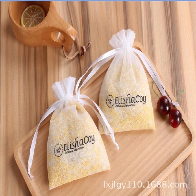 厂家定制 纱袋 束口 礼品袋 超薄礼品包装纱袋 手工束口抽绳纱袋图片